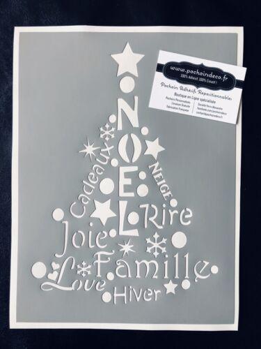 Pochoir Adhésif Réutilisable 30 x 20 cm Sapin De Noël Et Lettrages