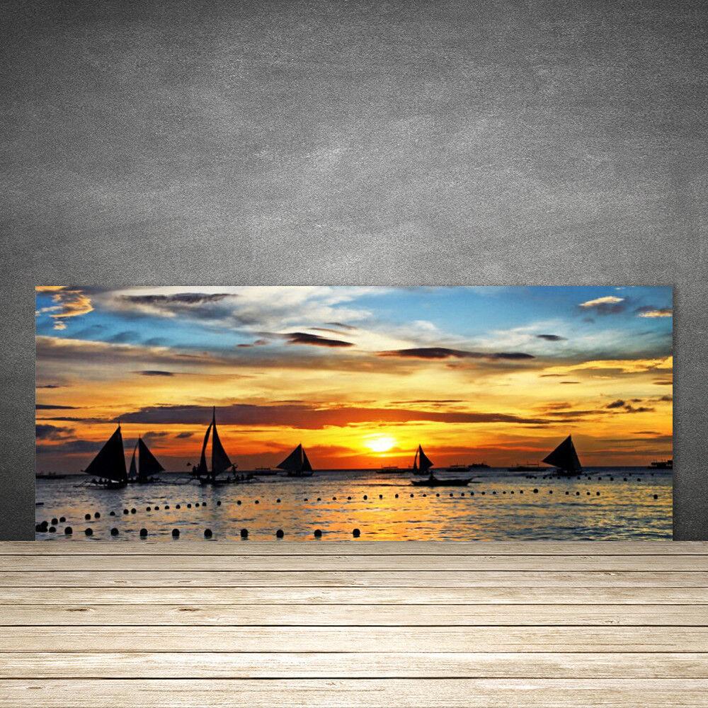 Crédence de cuisine en verre Panneau 125x50 Paysage Bateaux Mer Soleil
