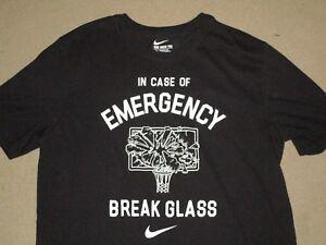 "NIKE Boy/'s /""IN CASE OF EMERGENCY BREAK GLASS/"" Cotton T-Shirt **BLACK//WHITE** NWT"