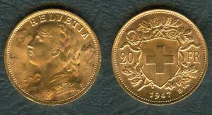 1947-SWISS-Switzerland-Helvetia-20-Franc-22K-Yellow-GOLD-Coin-UNC