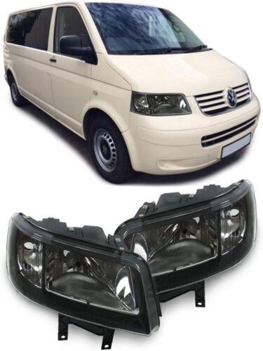 Klarglas Scheinwerfer Schwarz für VW Bus Transporter T5