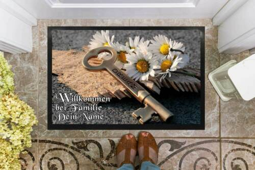Fußmatte mit Namen Holz Schlüssel