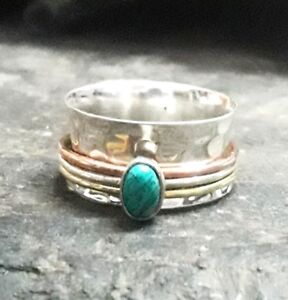 Turquoise-Solid-925-Sterling-Silver-Spinner-Ring-Meditation-Ring-Band-Ring-sr201