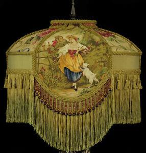 Large Victorian Lamp Shade Fragonard Rare Fabric Stunning