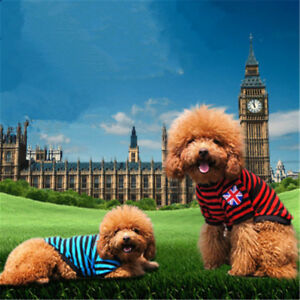 Small Dog T Shirt Clothes Uk Flag Striped Puppy Shirt Cheap Costume Pet Supplies Ebay