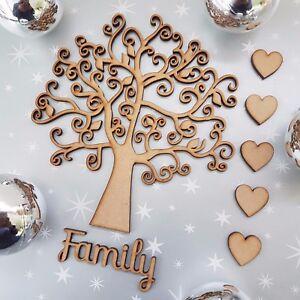 Wooden-Family-Autumn-Leaf-Tree-blank-Christmas-Craft-Arts-MDF-Box-heart-family