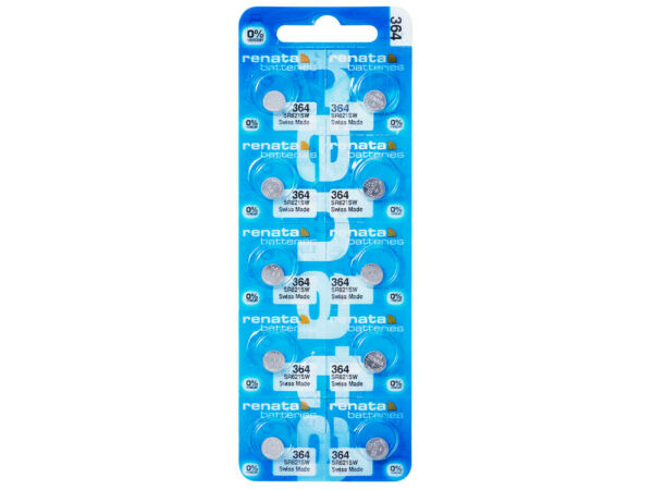 10 X Renata 364 Pile Batterie Blister Mercury Free Silver Oxide Sr621sw 1.55v