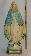 "Large 20 5/8"" Virgin Mary Chalkware Plaster Statue Catholic Statuary Co? 1930-50"