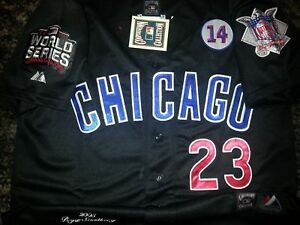 buy popular dd5eb c1539 Details about CHICAGO CUBS #23 RYNE SANDBERG Throwback Jersey black New Tag  dual patch sewn