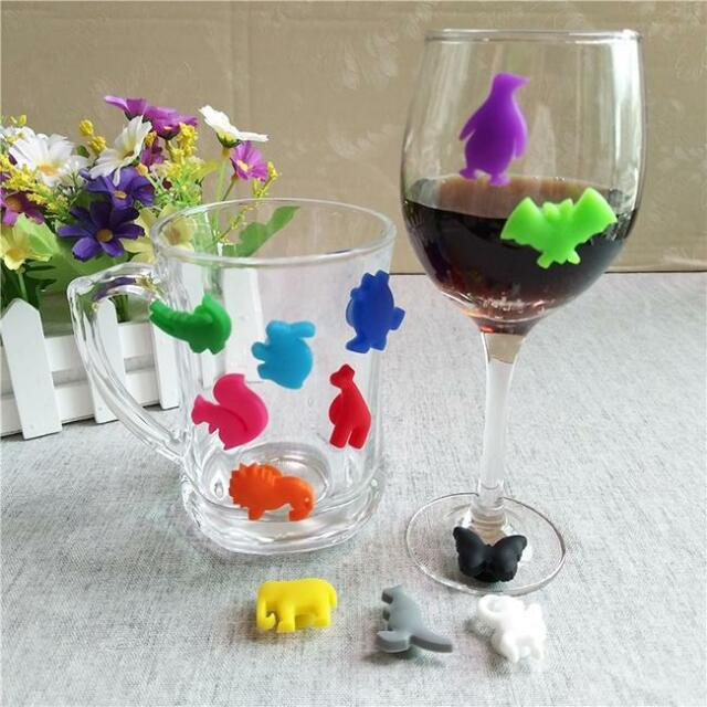 12PCS Silicone Party Wine Glass Cup Markers Label Charms Banquet Bar Recognizer