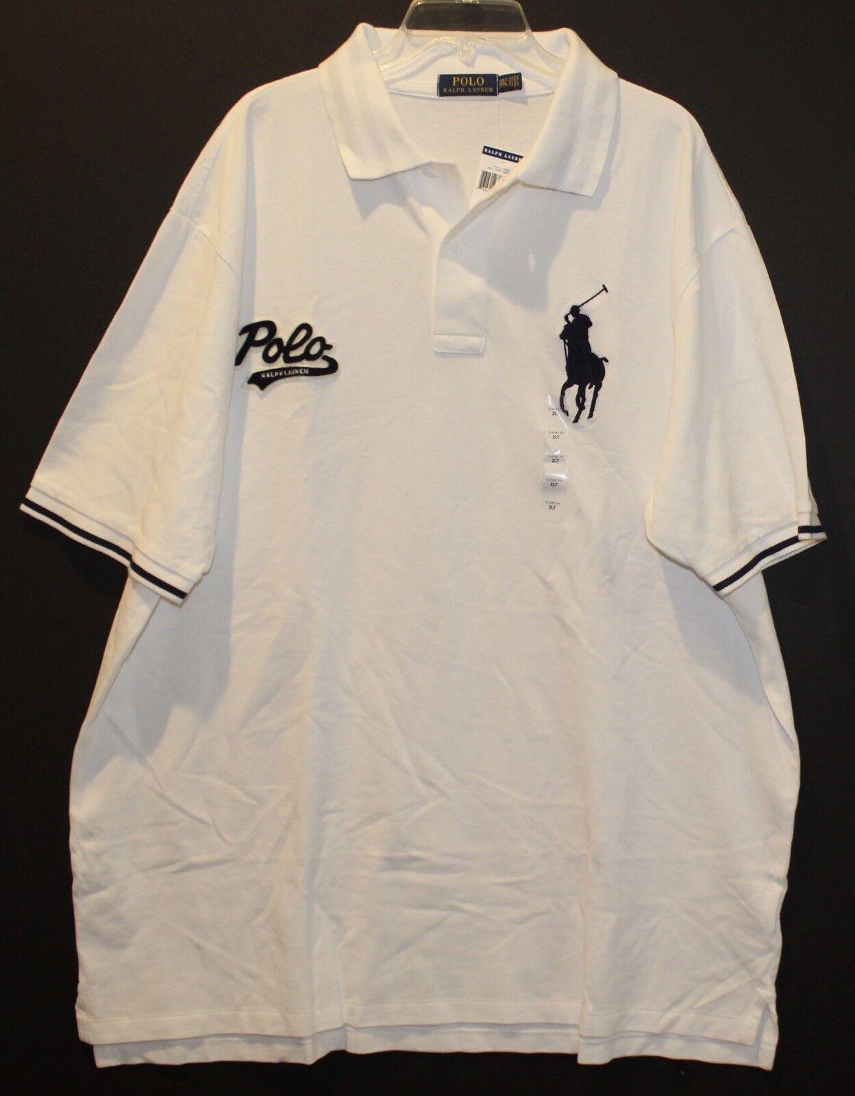 4a0e959da Polo Ralph Lauren Big and Tall Mens White Polo Big Pony Rugby Shirt NWT 3XLT