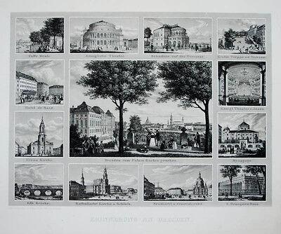 C1840 Erinnerung An Dresden Stahlstich-souvenirblatt Von Schmidt Nach Wagner Seien Sie Im Design Neu
