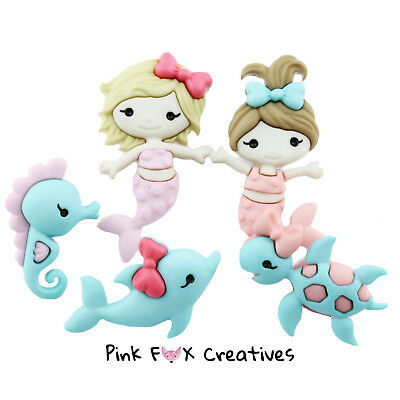MERMAID KISSES Dolphin Turtle Seahorse Girl Sea Dress It Up Craft Buttons