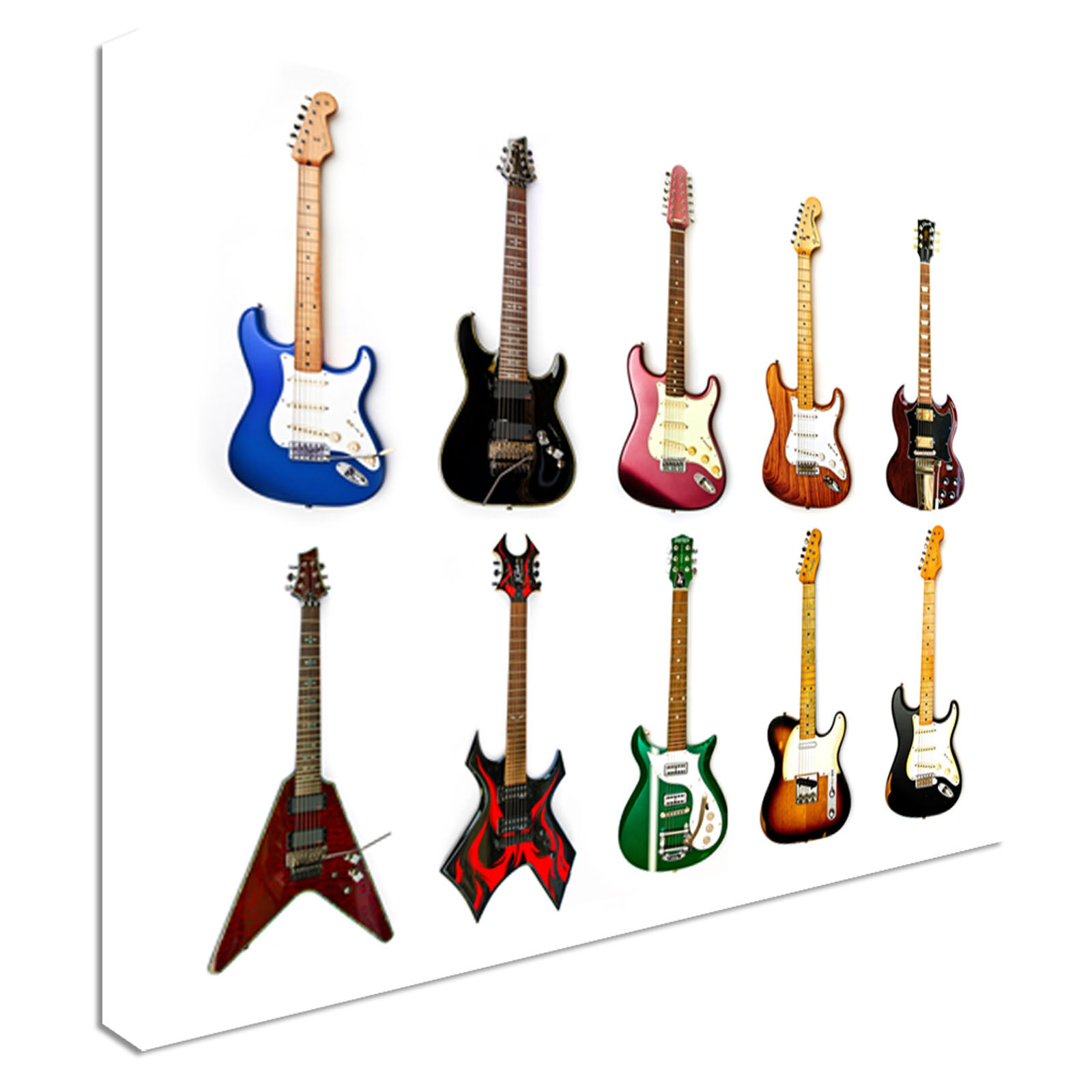 Collection of electric guitars Canvas Wall Art Print Large Any Größe
