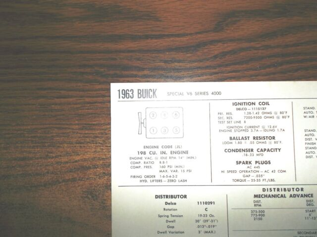 1963 Buick Six Series 4000 Special Models 198 Ci V6 Tune Up Chart Ebayrhebay: 1963 Buick Special Ignition Wiring Diagram Besides Ac At Gmaili.net