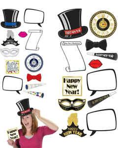12 New Year Photo Fun Signs Decorations Props Clock Hat ...