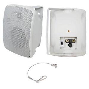 QUALITY-4-034-40W-White-Outdoor-Garden-Speaker-100V-amp-8ohm-IP44-Wall-Background