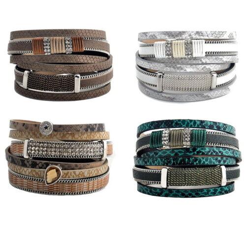 GIFT New Fashion Unisex Multi-layer Leather Bracelet Bangle Jewelry 39.5cm