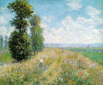 Oil painting Claude Monet - Meadow with Poplars lady in view free shipping cost