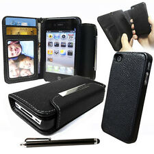 Apple iPhone 4S 4 4g Black Leather Wallet Case with Removable Hard case cover