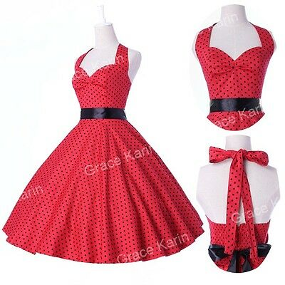 Jive Polka dot Swing 1950s Housewife pinup Vintage Retro Cotton Evening Dress