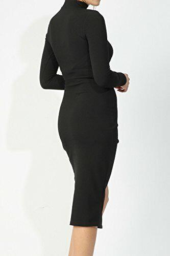 Ladies Choker Neck Asymmetric Wrap Bodycon Dress UK Size 8-14