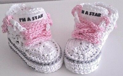 BABY COTTON  CROCHET  HAND SHOES TRAINERS SNEAKERS