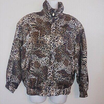 FUDA International Casual Corner Woman Leopard Print 80s 90s Windbreaker