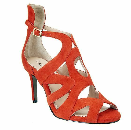 NEW G.I.L.I. Suede Pumps with SIZE Cut-out Detail - Seville SIZE with 6.5M ORANGE 3a8342