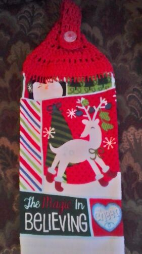 Handmade CROCHET TOP HANGING COTTON TOWEL The Magic of Believing  Reindeer Red