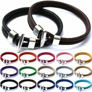Women-Men-Leather-Wrap-Wristband-Cuff-Punk-Alloy-Buckle-New-Bracelet-Bangle