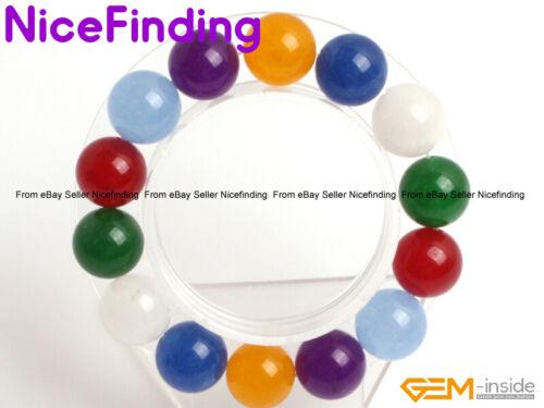 "Handmade Round Multi Couleur Jade Perles Guérison Stretch Bracelet Bijoux 7.5/"" NF"