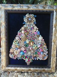Jewelry Christmas Trees.Details About Vintage Jewelry Framed Christmas Tree Blue Star Pink Flamingos Palm Trees