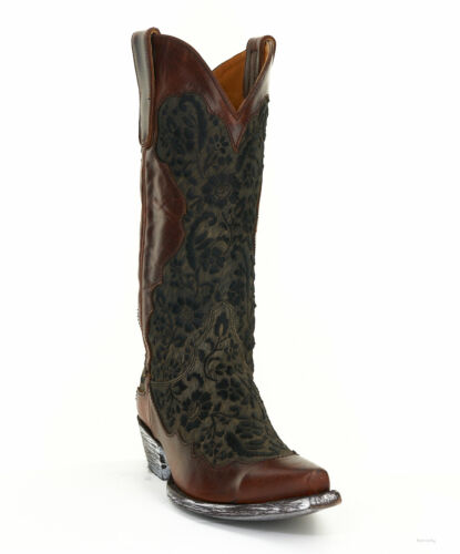 """L2921-3 OLD GRINGO MIGISSI BLOCKED 13/"""" BLACK COWHIDE LEATHER COWGIRL BOOT"""