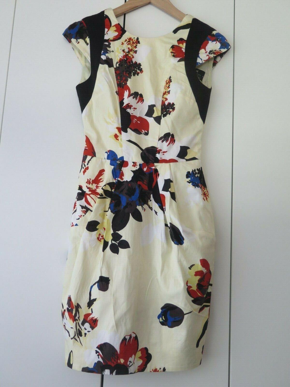 CUE Sz 6 Lemon Abstract Print Dress with schwarz Contrast EC -Exclusive Cue Print