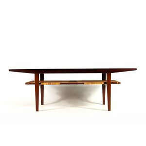 Retro-Vintage-Danish-Rosewood-Cane-Coffee-Table-TV-Stand-Mid-Century-Modern-60s