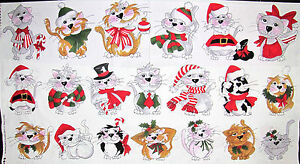 Loralie-Harris-Kitty-Christmas-Cat-Kitties-In-A-Row-Cotton-Fabric-991-B-PANEL