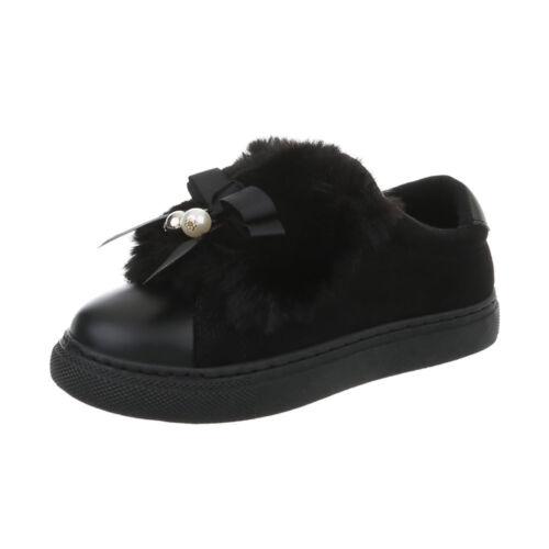 Kunstfell Deko Sneaker Damenschuhe 0134 Ital-design