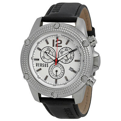 Versus By Versace Aventura Chronograph White Dial Black Leather Mens Watch