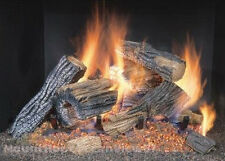 "Vented Natural Gas Fireplace Log Set 18"" 50,000 BTU Burner Insert Fire Grate Oak"