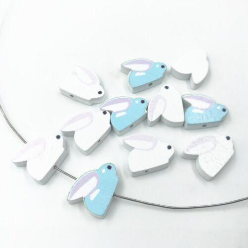Holz Kaninchenform Perlen für Baby Handwerks Schnuller Clip Halskette DIY 20mm