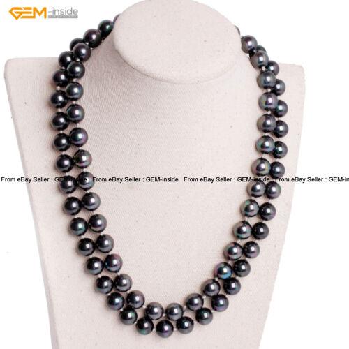 """Femmes 10 mm ronde perles en coquillages perles nœud bijoux colliers 36/"""" cadeau de Noël"""