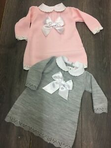 3b1467e4d73d baby babies girls girl KNITTED DRESS pink grey dresses with white ...