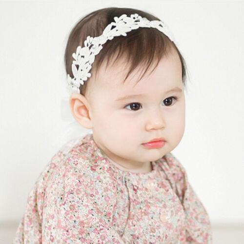 Baby Girls White Floral Hair band Adjustable Headband Lace Flower Headband ODHN