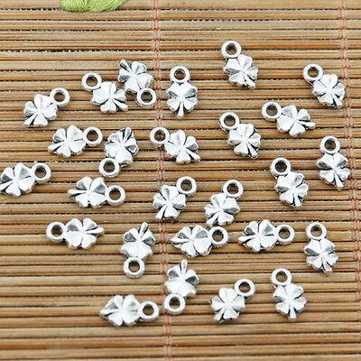 100pcs tibetan silver color mini lucky leaf charms EF2382