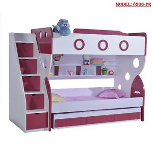 New King Single Purple Bunk Bed Trundle Staircase Drawers Children Bedroom Ebay