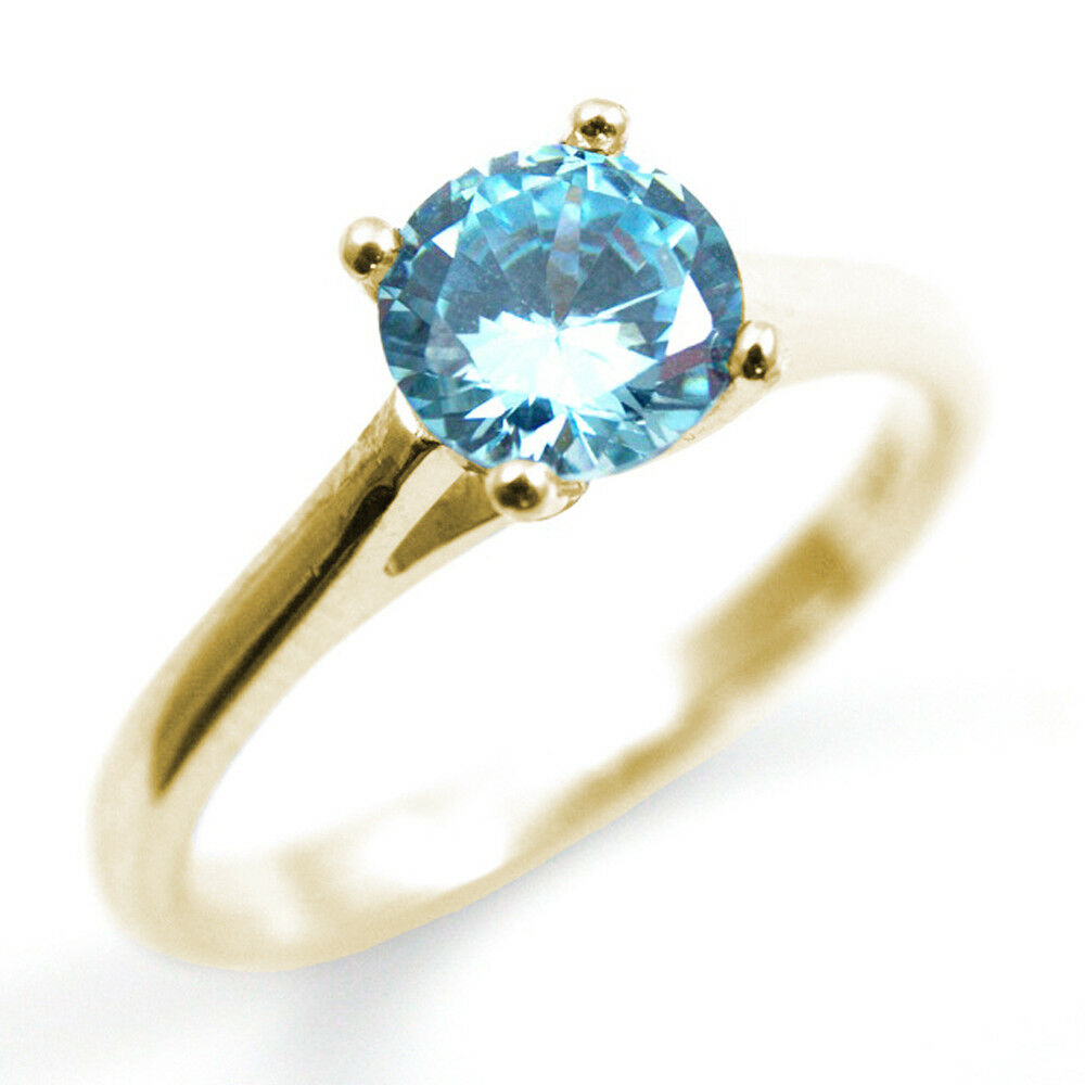 Diamond-Unique Solitaire Aquamarine 9ct gold Ring 1ct Engagement Ring