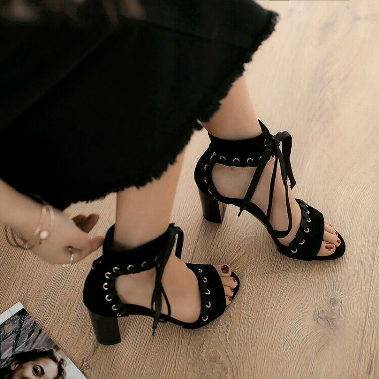 New Women's Sandals Peep Toe Lace up Block Heels Summer Suede shoes Size