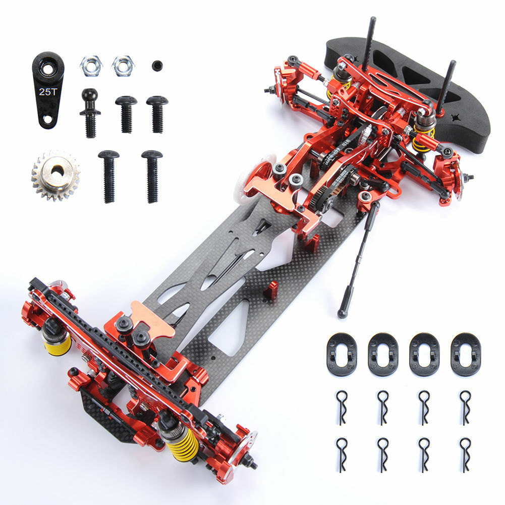 1:10 Alloy&Carbon Fiber Frame Kit G4 for HSP RC 4WD Drift Model Car 078055R rosso