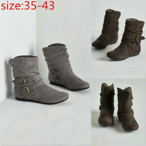 Womens-Fashion-Suede-Short-Boots-Thick-Casual-Pumps-Plush-Flat-Ankle-Shoes